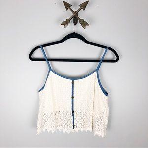 Crochet off white crop top